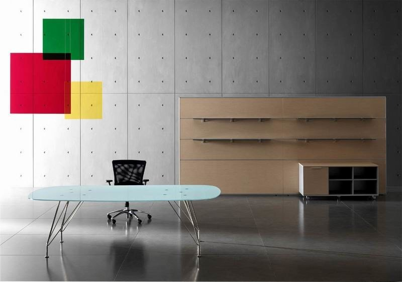 Crystal and stainless steel executive desk MEETING | Crystal and stainless steel office desk - MASCAGNI