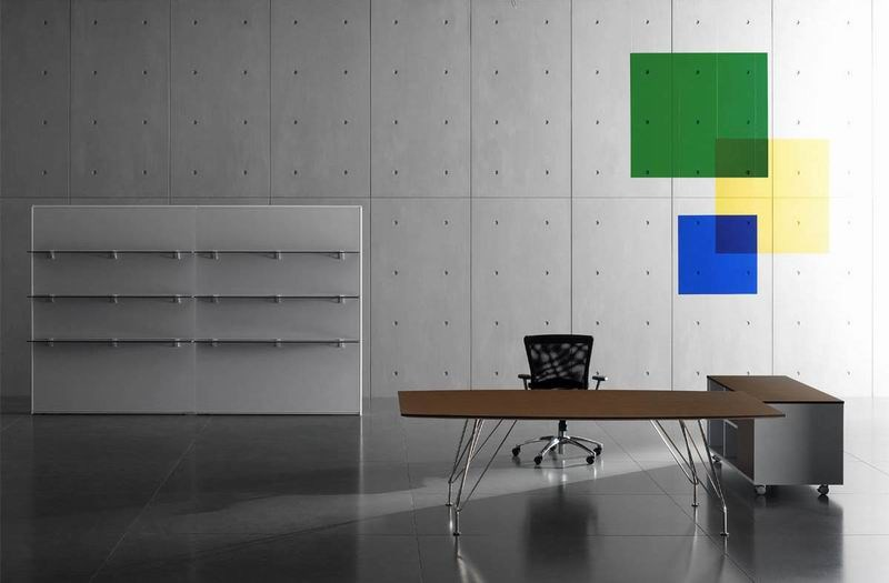 Stainless steel and wood executive desk MEETING   Stainless steel and wood office desk by MASCAGNI