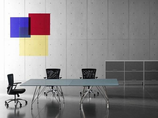 Square crystal and stainless steel meeting table Meeting table by MASCAGNI