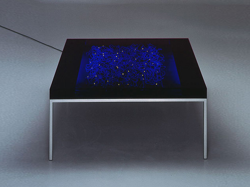 Glass coffee table with light ATLAN - TISCH - Draenert