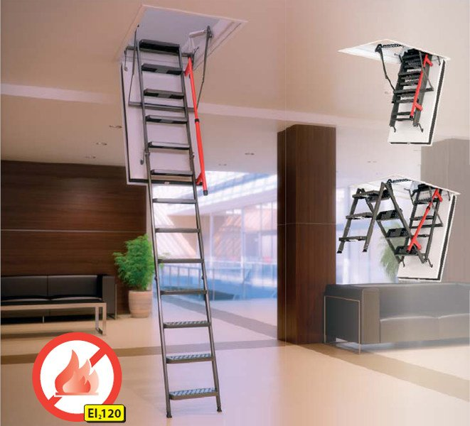 Fire-resistant loft ladder LMF | Retractable stair - FAKRO