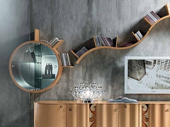 Wall-mounted wooden display cabinet MISTRAL | Wall-mounted display cabinet by Carpanelli Contemporary