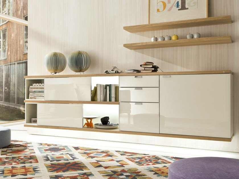 Lacquered suspended sideboard with sliding doors TAMETA | Sideboard with sliding doors - Hülsta-Werke Hüls