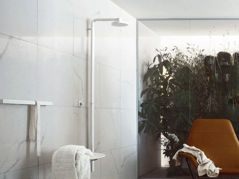 Shower panel with overhead shower FARAWAY | Shower panel with overhead shower by ZUCCHETTI