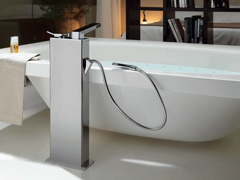 Floor standing bathtub mixer with hand shower SOFT | Floor standing bathtub mixer - ZUCCHETTI