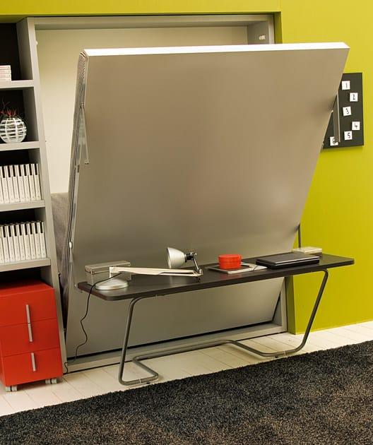 Lit double escamotable ulisse desk by clei design giulio for Lit escamotable design contemporain