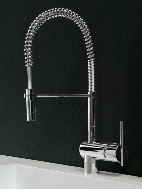 1 hole kitchen mixer tap with pull out spray SPIN | Kitchen mixer tap by ZUCCHETTI