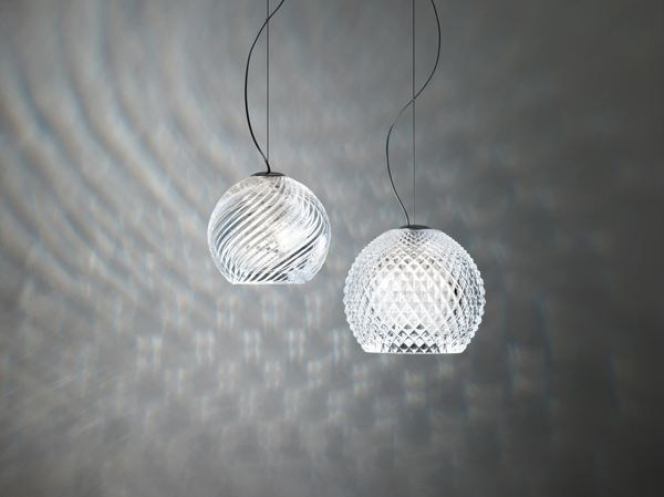 Crystal pendant lamp DIAMOND SWIRL | Pendant lamp by Fabbian