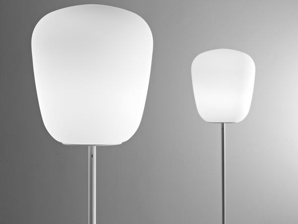 Halogen fluorescent glass floor lamp LUMI BAKA | Floor lamp - Fabbian