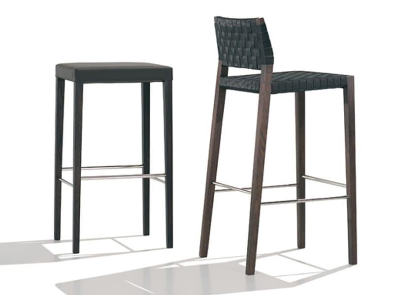 Upholstered oak stool VALERIA | Stool - Andreu World