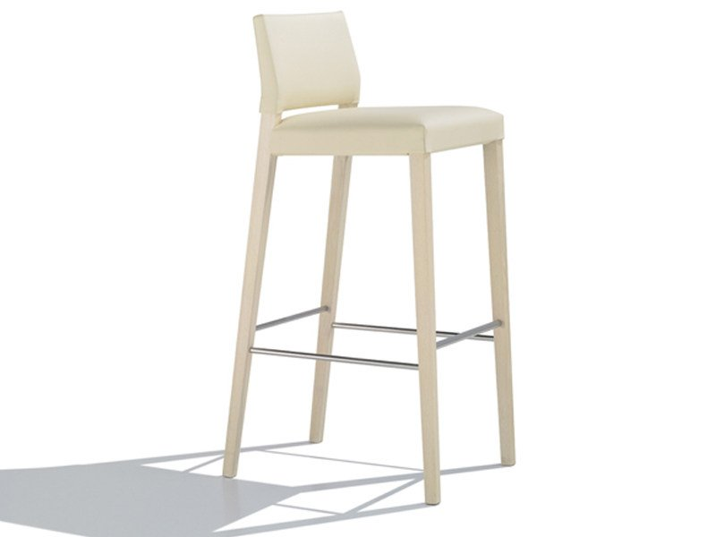 Upholstered leather counter stool VALERIA | Counter stool - Andreu World
