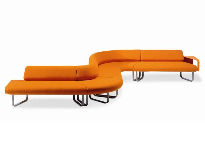 Sectional sofa with integrated magazine rack YUKU by ROSSIN