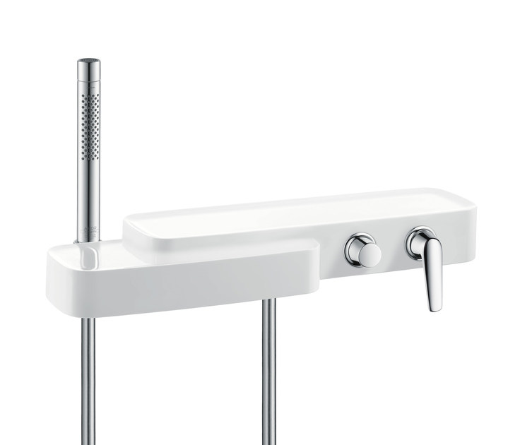 Wall-mounted bathtub mixer with hand shower AXOR BOUROULLEC | Bathtub mixer - HANSGROHE