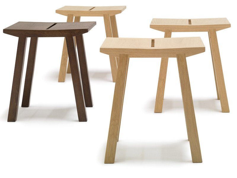 Low wooden stool WOODY | Low stool by Andreu World