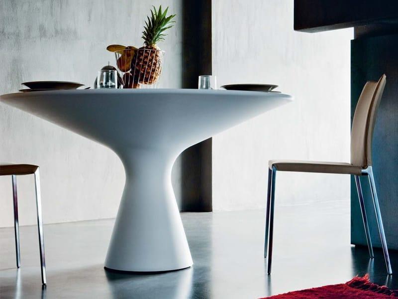 Tavolo Rotondo Da Salotto In Cristalplant Blanco Zanotta