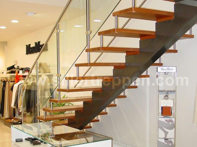 Scala a giorno autoportante in acciaio inox e legno classic scala a giorno siller treppen - Prezzi scale a giorno ...