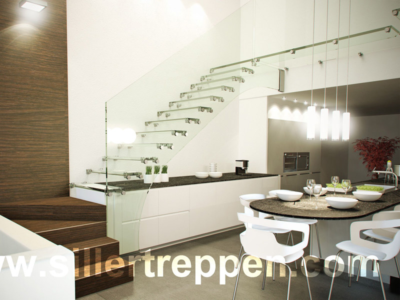Self supporting glass Open staircase MISTRAL ALL-GLASS STAIRCASE - Siller Treppen