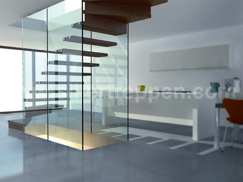 Self supporting wood and glass Open staircase MISTRAL STRUCTURAL GLASS WALLS - Siller Treppen