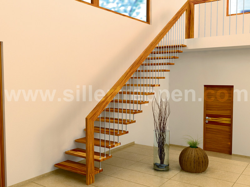 escalera abierta de acero inoxidable y madera sevilla by. Black Bedroom Furniture Sets. Home Design Ideas