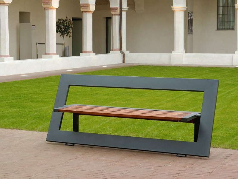 Steel and wood Bench with back TITTA - FRAME - A.U.ESSE