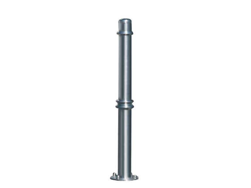 Stainless steel bollard post with base plate