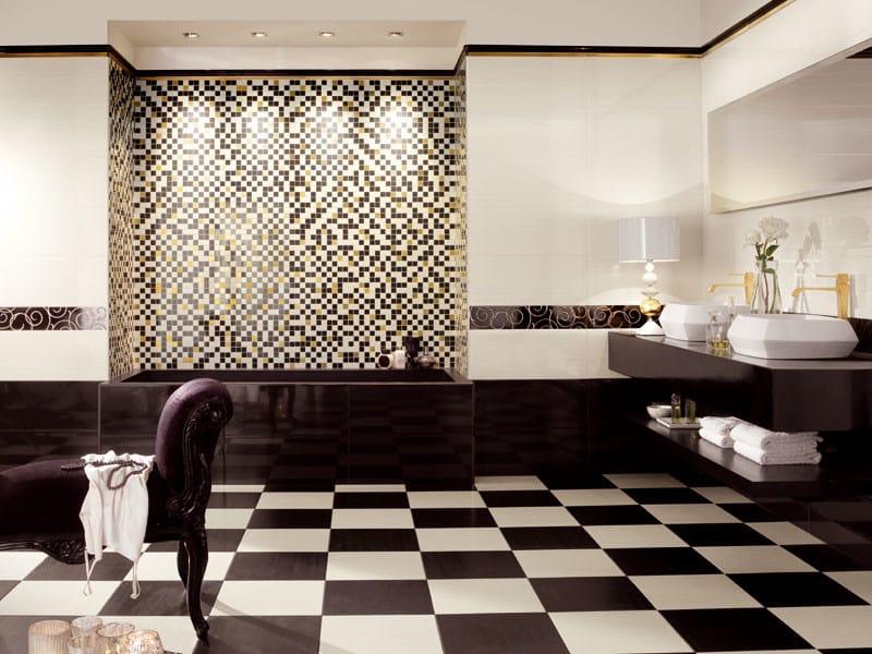 Mobile bagno nero cassetti con lavabo piastrelle bagno oro e