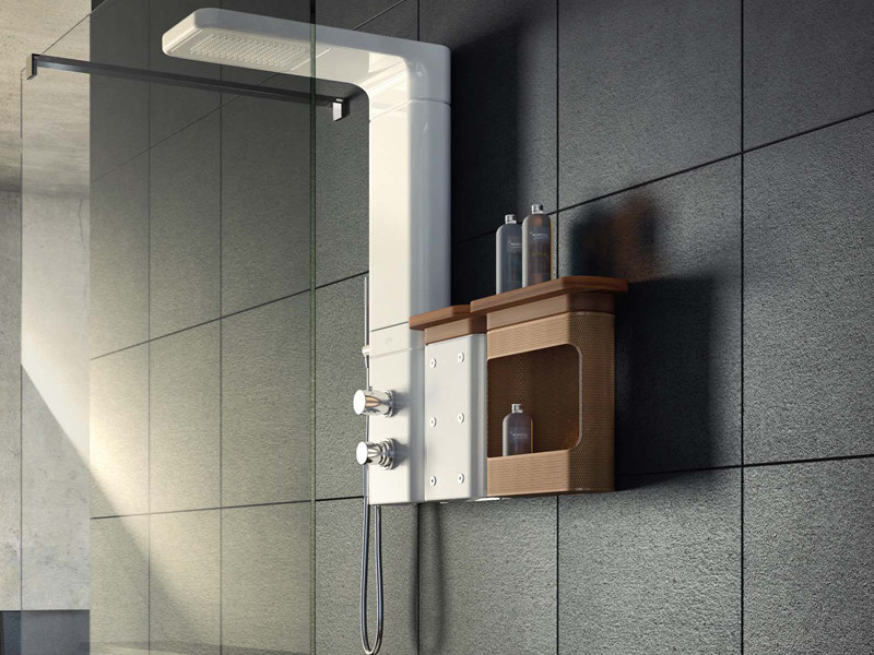 Multifunction ceramic shower panel BABELE | Wall-mounted shower panel - Glass 1989