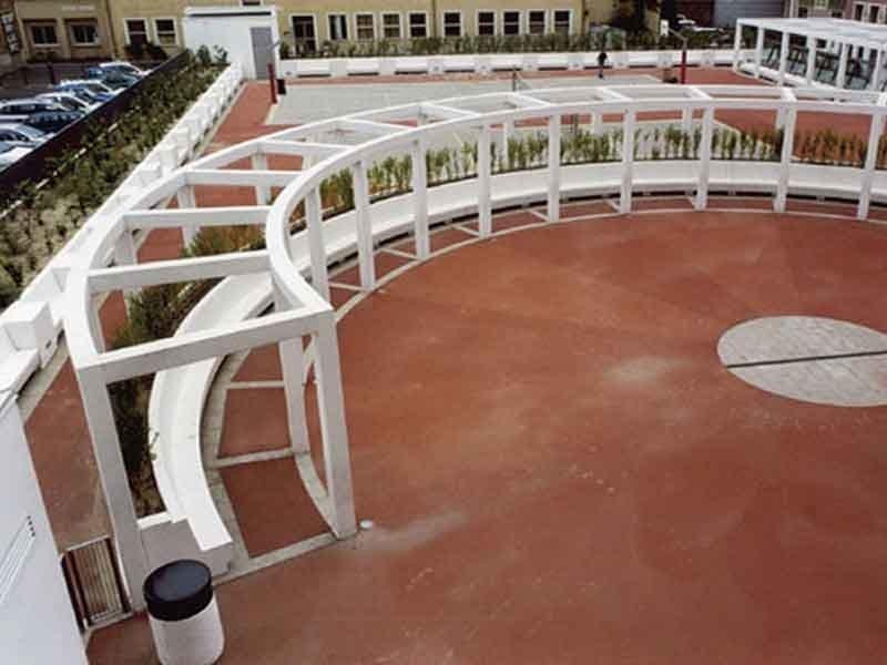 Panchina modulare in cemento con schienale conca by calzolari for Calzolari arredo urbano