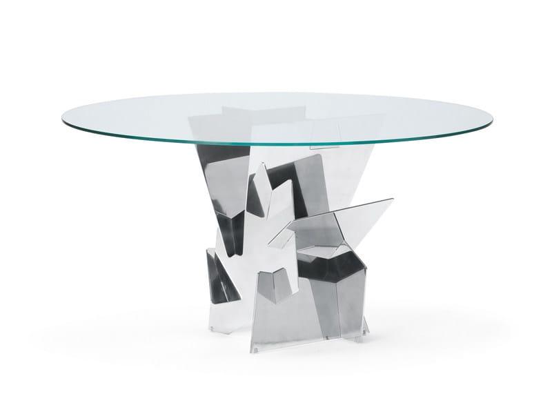 Tavolo rotondo in vetro DIAMANTE | Tavolo rotondo - YDF