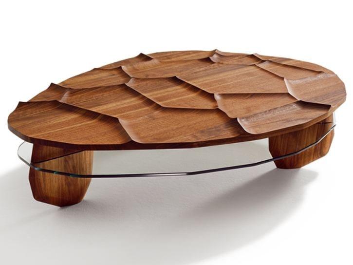 Solid wood coffee table ROCK & ROLL - TEAM 7 Natürlich Wohnen