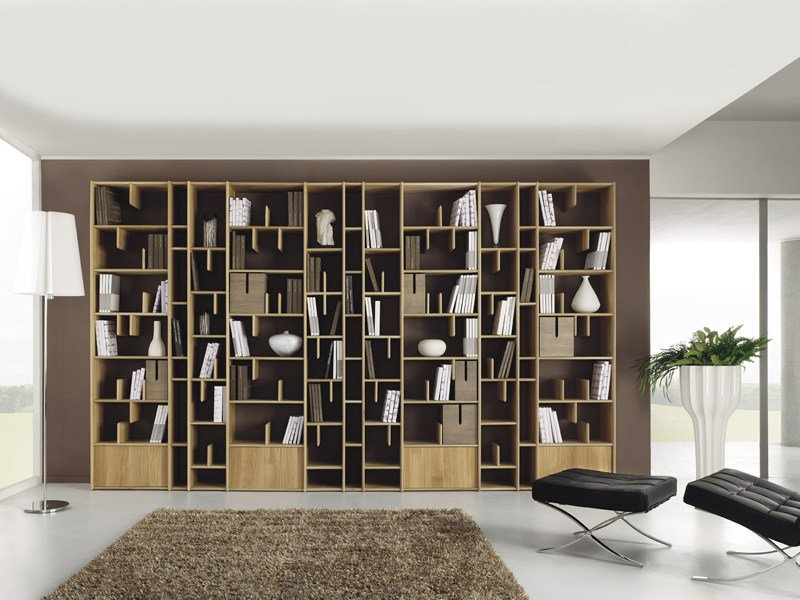 biblioth que murale en bois espace by domus arte design. Black Bedroom Furniture Sets. Home Design Ideas
