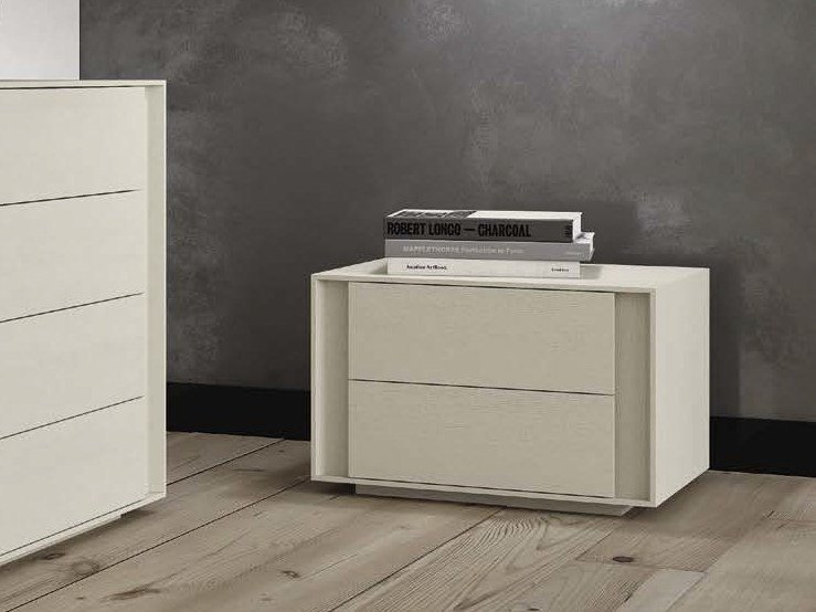 Solid wood bedside table with drawers NUVOLA - Domus Arte
