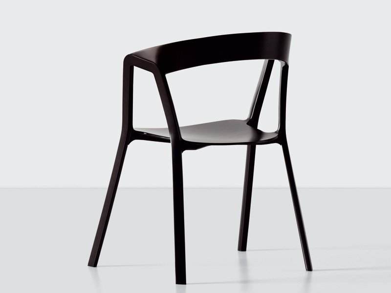 Stackable polypropylene chair COMPAS by Kristalia