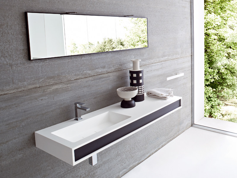 Console semi-inset Korakril™ washbasin GIANO | Washbasin with integrated countertop - Rexa Design