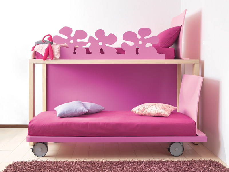 Solid wood bunk bed on casters 9030 | Bed on casters by dearkids