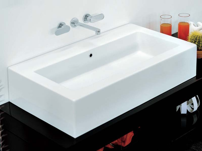 Countertop ceramic washbasin ACQUAGRANDE 100 | Rectangular washbasin - CERAMICA FLAMINIA