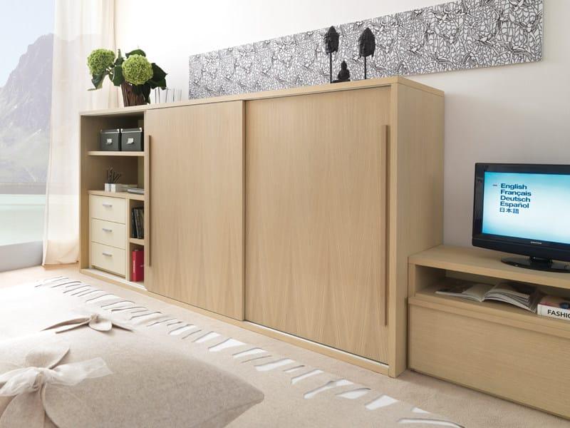 Wooden wardrobe 9005 | Wardrobe with sliding doors - dearkids