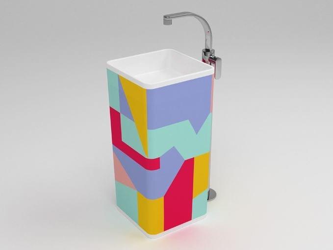Freestanding square single washbasin MONOWASH AZ - CERAMICA FLAMINIA