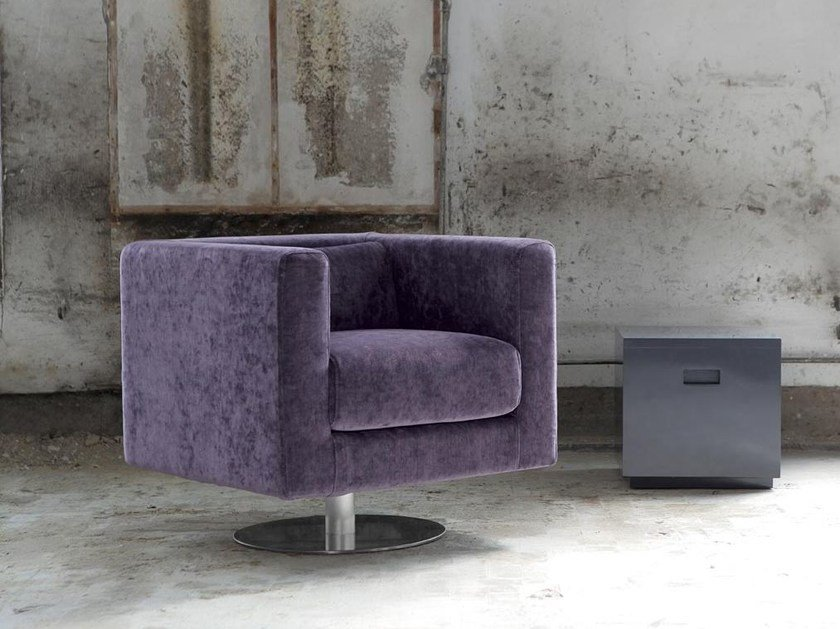 Swivel armchair with removable cover SUDEK | Swivel armchair - Domingo Salotti