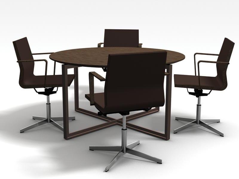 Tavolo da riunione rotondo in weng collezione desk by for Tavolo wenge