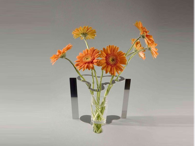 Stainless steel vase FLATAALTO by Movisi