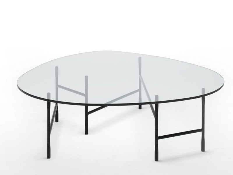 Round glass coffee table HINGE | Coffee table - Living Divani