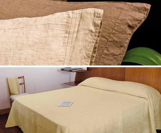 Coordinato letto a tinta unita in lino riprese ribattute coordinato letto la fabbrica del - La fabbrica del lino letto ...