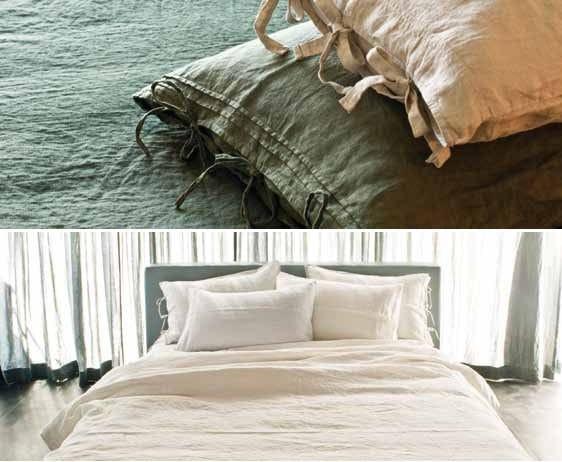 Coordinato letto a tinta unita in lino laccetti coordinato letto la fabbrica del lino - La fabbrica del lino letto ...