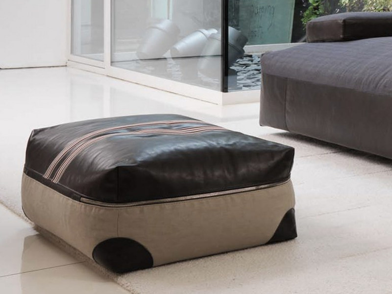 Upholstered leather pouf with removable lining STRIPE | Pouf - Désirée