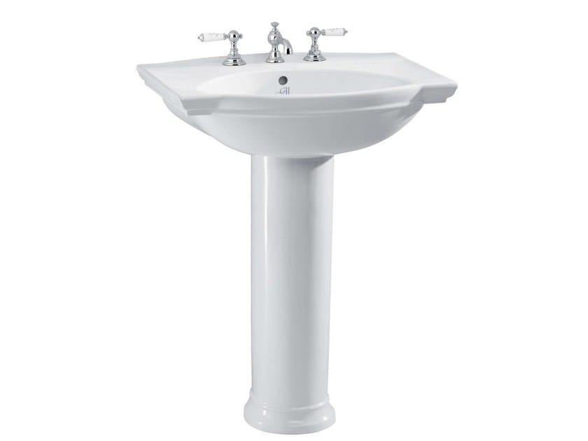 Pedestal porcelain washbasin DAMEA | Pedestal washbasin - GENTRY HOME