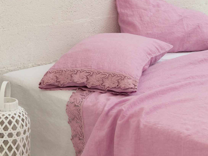 Embroidered linen bedding set ROSE | Bedding set - LA FABBRICA DEL LINO by Bergianti & Pagliani