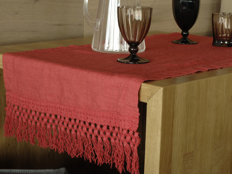 Linen Table runner FRANGE | Table runner - LA FABBRICA DEL LINO by Bergianti & Pagliani