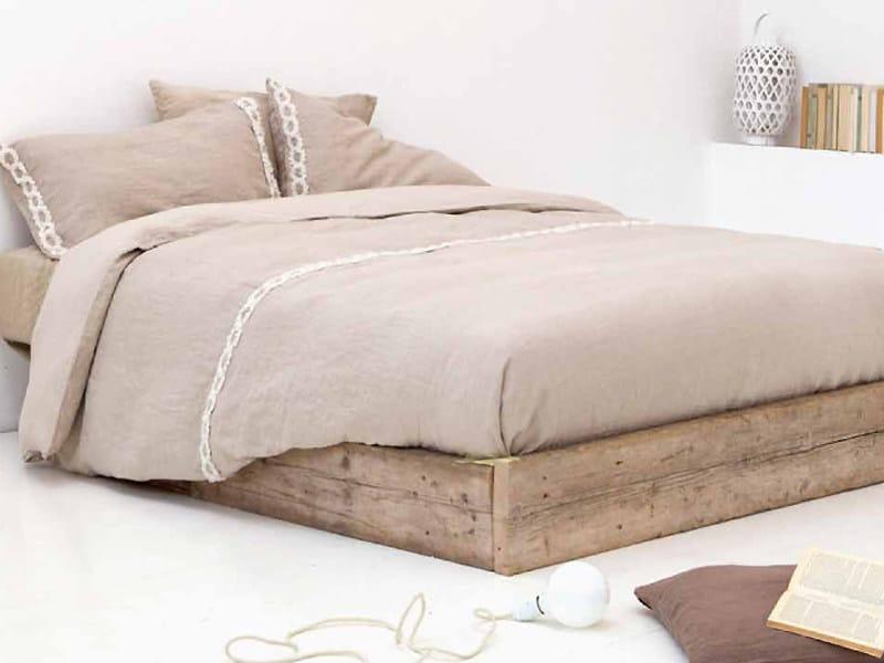 Coordinato letto ricamato in lino peonie coordinato letto la fabbrica del lino - La fabbrica del lino letto ...