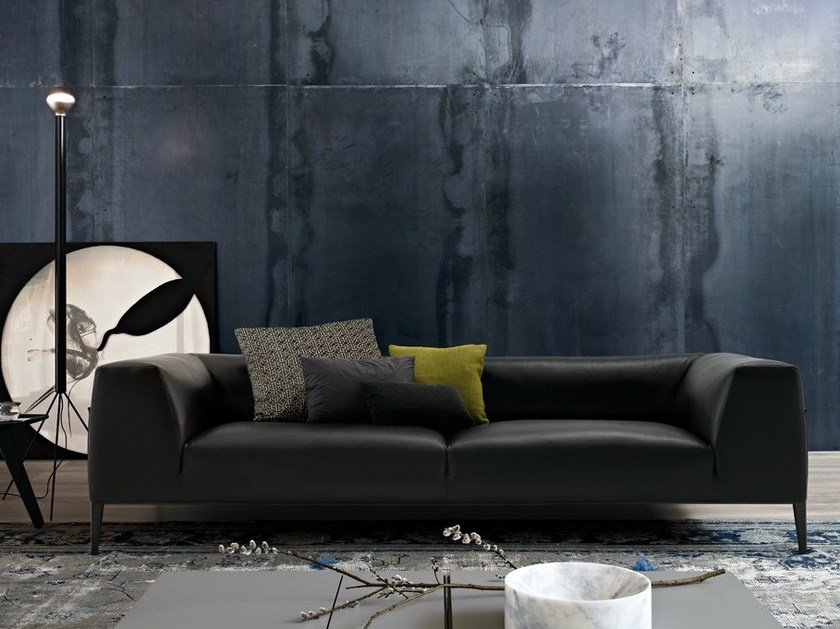 Leather sofa with removable cover METROPOLITAN | Leather sofa - Poliform